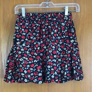 Black and Red Floral Skirt S